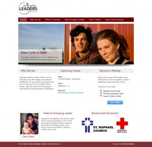 A screenshot of the site design for the Dubois County Emerging Leaders.