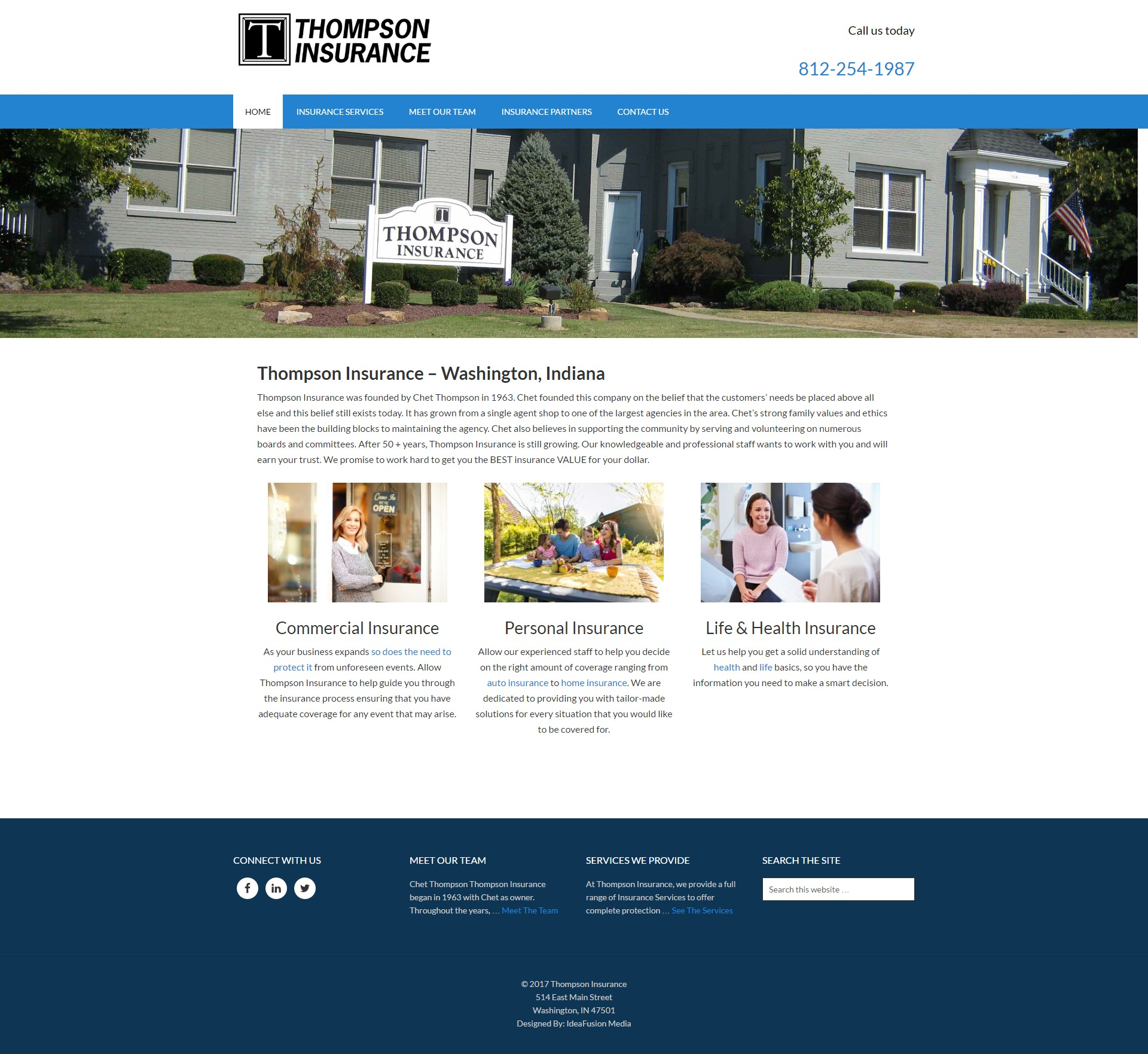 Thompson Insurance Web Site Redesign Screenshot